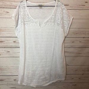 Lucky Brand 100% Cotton Crochet Style White Tee 2X